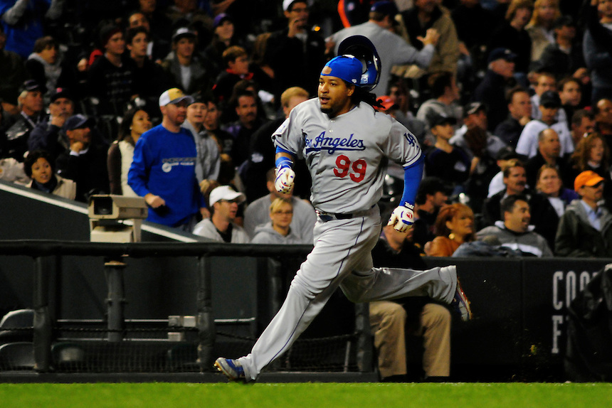 12 September 2008: Los Angeles Dodgers outfielder Manny Ramirez rounds the bases for a run against the Colorado Rockies. The Dodgers defeated the Rockies 7-2 at Coors Field in Denver, Colorado. FOR EDITORIAL USE ONLY