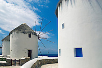 Having stood for centuries, the 5 iconic Kato Milli (lower windmills) on the Greek island of Mykonos line a low hill above a popular tourist area known as Little Venice. The windmills supplied the island's bakers with flour, which turned the island into an important resupply station for ships crossing the Aegean.