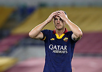 Football, Serie A: AS Roma - Hellas Verona Fc, Olympic stadium, Rome, July 15, 2020. <br /> Roma's captain Edin Dzeko reacts during the Italian Serie A football match between Roma and Hellas Verona at Rome's Olympic stadium, on July 15, 2020. <br /> UPDATE IMAGES PRESS/Isabella Bonotto