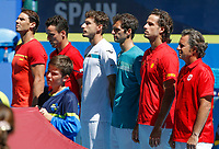 8th January 2020; RAC Arena, Perth, Western Australia; ATP Cup Australia, Perth, Day 6; Spain versus Japan; team Spain lines up for the National Anthem - Editorial Use