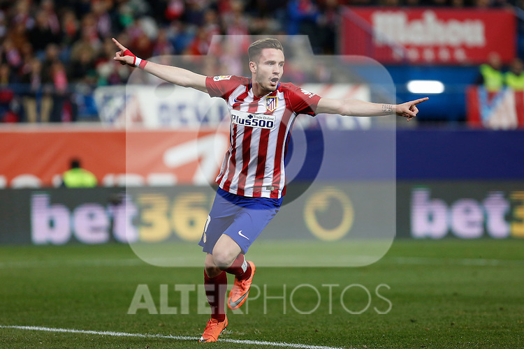 Atletico de Madrid´s Saul Niguez celebrates a goal (1-0) during 2015-16 La Liga match between Atletico de Madrid and Deportivo de la Coruna at Vicente Calderon stadium in Madrid, Spain. March 12, 2016. (ALTERPHOTOS/Victor Blanco)
