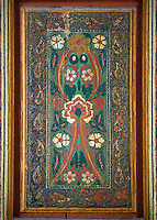 Berber Arabesque painted wood panel of the Marrakesh museum in the Dar Menebhi Palace, Marrakesh, Morocco