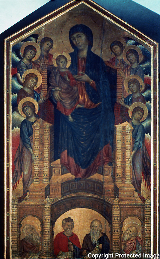 Paintings:  Cimabue--A Virgin with her Son.  (Cimabue, a Florentine, c. 1240-1302?)  Galleria Uffizi, Florence.  Reference only.