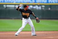 Rochester Red Wings shortstop Ray Olmedo #1 during a game against the Toledo Mudhens on June 11, 2013 at Frontier Field in Rochester, New York.  Toledo defeated Rochester 9-5.  (Mike Janes/Four Seam Images)