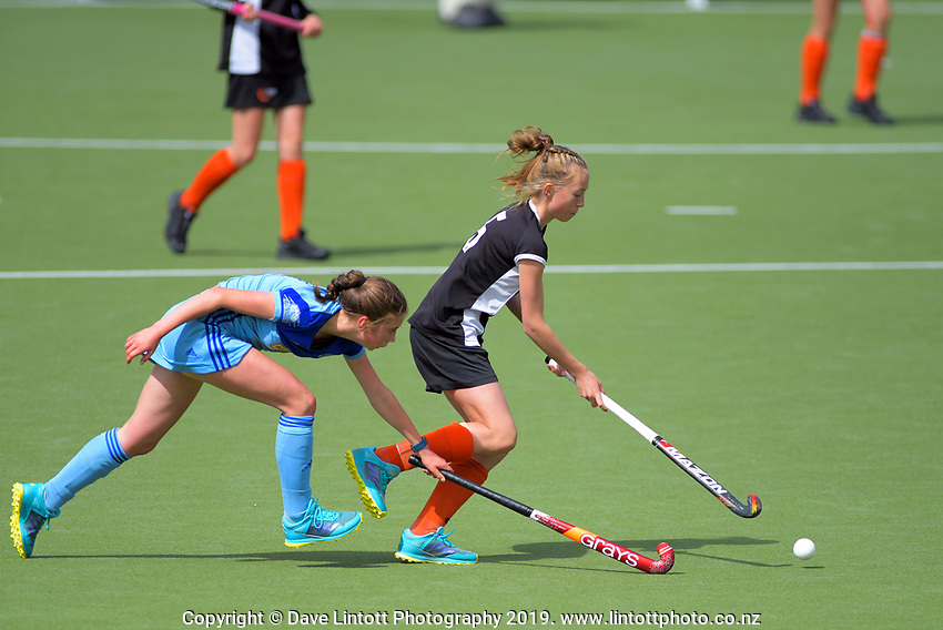 Action from the 2019 Collier Trophy Under-13 Girls' Hockey Tournament match between Hawkes Bay and Northland at National Hockey Stadium in Wellington, New Zealand on Friday, 9 October 2019. Photo: Dave Lintott / lintottphoto.co.nz