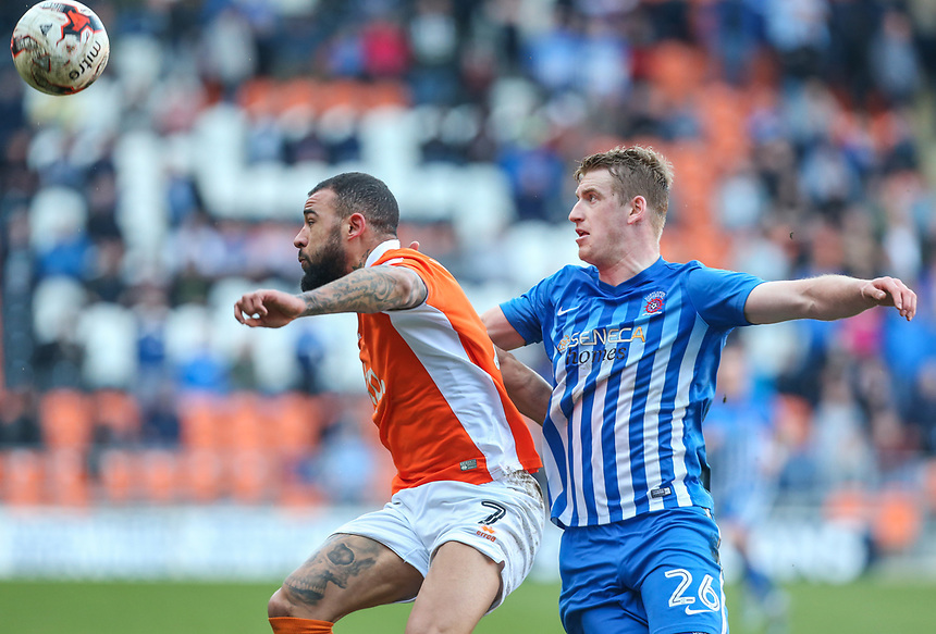 Blackpool's Kyle Vassell holds off the challenge from Hartlepool United's Scott Harrison<br /> <br /> Photographer Alex Dodd/CameraSport<br /> <br /> The EFL Sky Bet League Two - Blackpool v Hartlepool United - Saturday 25th March 2017 - Bloomfield Road - Blackpool<br /> <br /> World Copyright &copy; 2017 CameraSport. All rights reserved. 43 Linden Ave. Countesthorpe. Leicester. England. LE8 5PG - Tel: +44 (0) 116 277 4147 - admin@camerasport.com - www.camerasport.com
