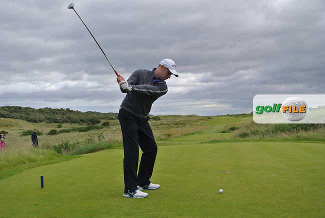 David Sutton (Lurgan) on the 12th tee during the Semi-Finals of the North of Ireland Amateur Open Championship at Royal Portrush, Dunluce Course on Friday 17th July 2015.<br /> Picture:  Golffile | Thos Caffrey