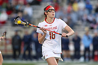 College Park, MD - February 25, 2017: Maryland Terrapins Kali Hartshorn (16) passes the ball during game between North Carolina and Maryland at  Capital One Field at Maryland Stadium in College Park, MD.  (Photo by Elliott Brown/Media Images International)