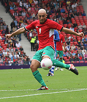 Men's Olympic Football match Honduras v Morocco on 26.7.12...Noureddine Amrabat of Morocco, during the Honduras v Morocco Men's Olympic Football match at Hampden Park, Glasgow.............