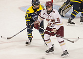 Annie Boeckers (Merrimack - 21), Ryan Little (BC - 20) - The number one seeded Boston College Eagles defeated the eight seeded Merrimack College Warriors 1-0 to sweep their Hockey East quarterfinal series on Friday, February 24, 2017, at Kelley Rink in Conte Forum in Chestnut Hill, Massachusetts.The number one seeded Boston College Eagles defeated the eight seeded Merrimack College Warriors 1-0 to sweep their Hockey East quarterfinal series on Friday, February 24, 2017, at Kelley Rink in Conte Forum in Chestnut Hill, Massachusetts.
