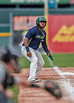 4 September 2017: Vermont Lake Monsters outfielder Logan Farrar takes a lead off third during the first game of a double-header against the Tri-City ValleyCats at Centennial Field in Burlington, Vermont. The Lake Monsters split their games, falling 6-5 in the first, then winning the second 7-4, thus clinching the NY Penn League Stedler Division Championship. Mandatory Credit: Ed Wolfstein Photo *** RAW (NEF) Image File Available ***