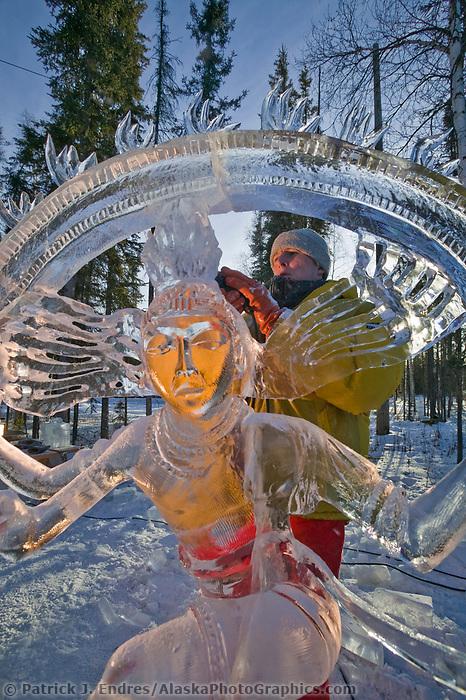 Walking Beyond Three Seas Multi Block, 2003 World Ice Art Championships, Fairbanks Alaska. Multi Block team Victor Solomennikov, Stan Kolonko, Tom Bagdovitz, Piotr Czurczak.
