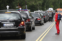 (Oslo July 23, 2011)  <br /> Funeral coaches line up to take vicitms away from the shore near Ut&oslash;ya island, hwere a gunman killed more than 80 youths.<br /> <br /> A large vehicle bomb was detonated near the offices of Norwegian Prime Minister Jens Stoltenberg on 22 July 2011. Although Stoltenberg was reportedly unharmed the blast resulted in several injuries and deaths. <br /> Another terrorist attack took place shortly afterwards, where a man killed over 80 children and youths attending a political camp at Ut&oslash;ya island. <br /> <br /> Anders Behring Breivik was arrested on the island and has admitted to carrying out both attacks.<br /> (photo:Fredrik Naumann/Felix Features)