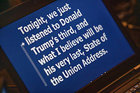 "A computer controlling the TelePrompTer displays the beginning of Democratic presidential candidate and Vermont senator Bernie Sanders speech in response to President Donald Trump's State of the Union address earlier that night at The Currier Museum of Art in Manchester, New Hampshire, on Tue., Feb. 4, 2020. Sanders' speech began, ""Tonight, we just listened to Donald Trump's third, and what I believe will be his very last, State of the Union Address."""