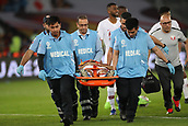 February 1st 2019; Adu Dhabi, United Arab Emirates; Asian Cup football final, Japan versus Qatar; Boualem Khoukhi of Qatar injured during the final match between Japan and Qatar