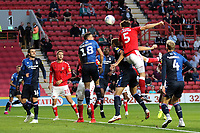 Charlton's Tom Lockyer heads the ball just wide of the Nottingham Forest goal during Charlton Athletic vs Nottingham Forest, Sky Bet EFL Championship Football at The Valley on 21st August 2019