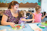 NWA Democrat-Gazette/CHARLIE KAIJO Hannah Walker of Joplin, Mos. (from left) makes a garden home with daughters Alayna Walker, 1 and  Anora Walker, 4, in the Garden Homes class, Friday, March 23, 2018 at Crystal Bridges Museum of Modern American Art in Bentonville. <br /><br />The museum offered free artmarking, acitivities and performances for Spring Break.