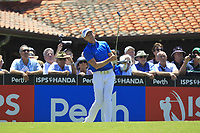 Brett Rumford (AUS) on the 1st tee during Round 2 of the ISPS Handa World Super 6 Perth at Lake Karrinyup Country Club on the Friday 9th February 2018.<br /> Picture:  Thos Caffrey / www.golffile.ie<br /> <br /> All photo usage must carry mandatory copyright credit (&copy; Golffile | Thos Caffrey)