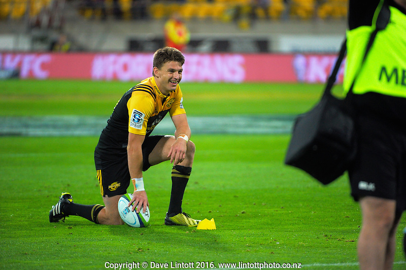 Beauden Barrett waits for a TMO decision during the Super Rugby match between the Hurricanes and Southern Kings at Westpac Stadium, Wellington, New Zealand on Friday, 25 March 2016. Photo: Dave Lintott / lintottphoto.co.nz
