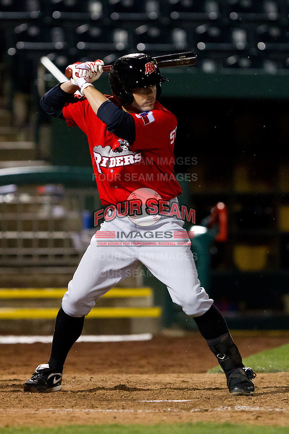 Davis Stoneburner (5) of the Frisco RoughRiders at bat during a game against the Springfield Cardinals on April 14, 2011 at Hammons Field in Springfield, Missouri.  Photo By David Welker/Four Seam Images.