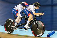 Picture by Alex Whitehead/SWpix.com - 02/03/2017 - Cycling - UCI Para-cycling Track World Championships - Velo Sports Center, Los Angeles, USA - Great Britain's Corrine Hall and Sophie Thornhill compete in the Women's B 3 km Individual Pursuit heats.