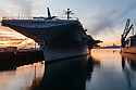 The USS Hornet Museum is docked in Alameda, California. These photographs were taken during the first evening of 2018 when there was also a full moon.