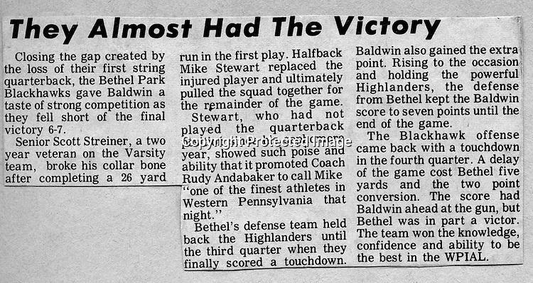Bethel Park Blackhawks vs Baldwin High Highlanders - 1970