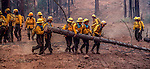 August 11, 1990 Yosemite National Park  --  A-Rock (Arch Rock) Fire  -- A crew of women from the White Mountain Reservation and Fort Apache, Arizona move a log to clear fire break. The Arch Rock Fire burned over 16,000 acres of Yosemite National Park and the Stanislaus National Forest.  At the same time across the Merced River, the Steamboat Fire burned over 5,000 acres of both Yosemite National Park and the Sierra National Forest.