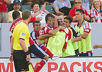 CARSON, CA - August 25, 2013: Chivas USA forward Erick Torres (10) celebrates one of his goals during the Chivas USA vs New York Red Bulls match at the StubHub Center in Carson, California. Final score, Chivas USA 3, New York Red Bulls 2.