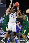 SIOUX FALLS, SD - MARCH 7:  Dylan Miller #42 and Kory Brown #22 of North Dakota State fight for a rebound with Brent Calhoun #45 of Fort Wayne in the 2016 Summit League Tournament.  (Photo by Dick Carlson/Inertia)