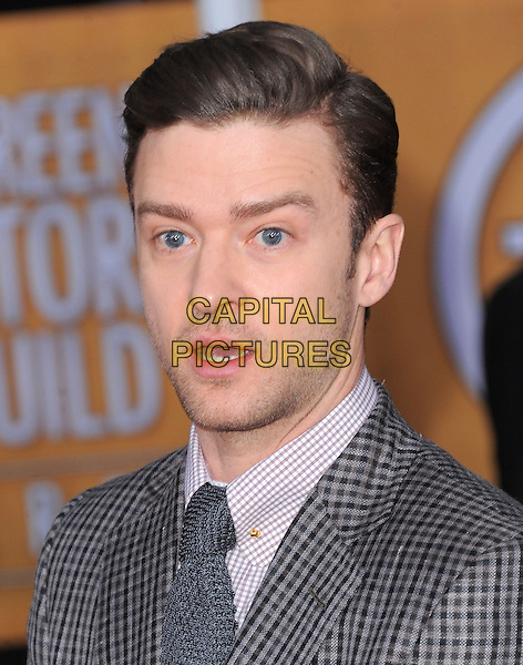 Justin Timberlake.Arrivals at the 19th Annual Screen Actors Guild Awards at the Shrine Auditorium in Los Angeles, California, USA..27th January 2013.SAG SAGs headshot portrait grey gray white shirt tie check stubble facial hair mouth open.CAP/DVS.©DVS/Capital Pictures.