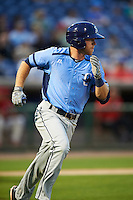 Charlotte Stone Crabs first baseman Grant Kay (2) runs to first during a game against the Clearwater Threshers on April 12, 2016 at Bright House Field in Clearwater, Florida.  Charlotte defeated Clearwater 2-1.  (Mike Janes/Four Seam Images)