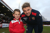 Matthew Godden of Stevenage and mascot during Stevenage vs Reading, Emirates FA Cup Football at the Lamex Stadium on 6th January 2018