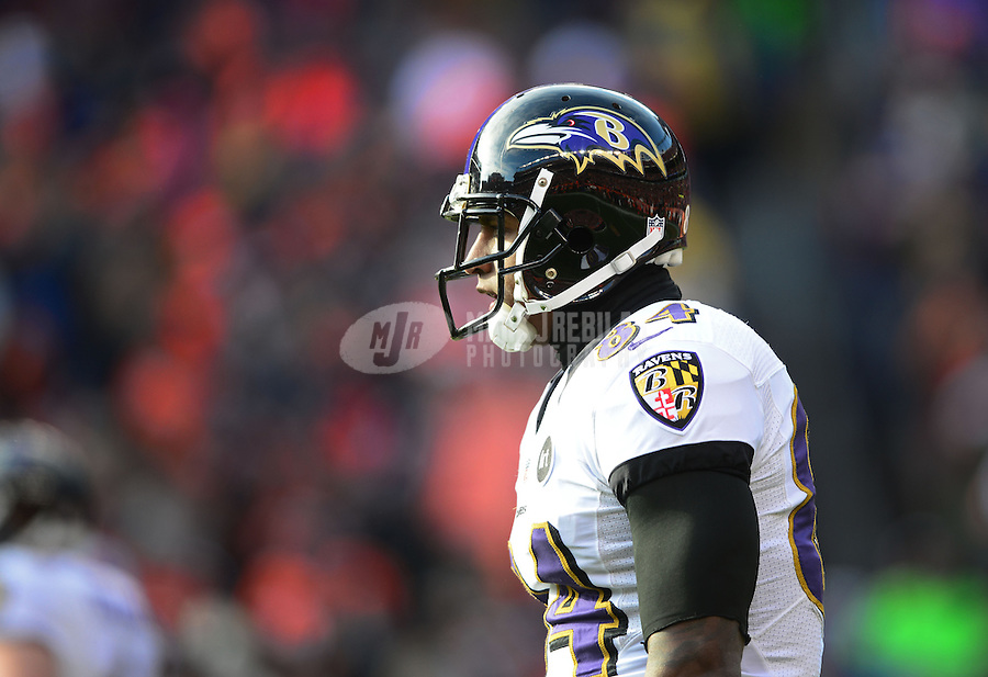 Jan 12, 2013; Denver, CO, USA; Baltimore Ravens tight end Ed Dickson (84) against the Denver Broncos during the AFC divisional round playoff game at Sports Authority Field.  Mandatory Credit: Mark J. Rebilas-