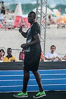 RIO DE JANEIRO; RJ; 29 DE MARÇO 2013 - Usain Bolt treina na praia de Copacabana durante a tarde desta sexta-feira visando o record dos 150m que tentará bater no próximo domingo. FOTO: NÉSTOR J. BEREMBLUM - BRAZIL PHOTO PRESS. .