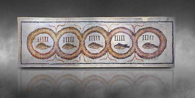 Pictures of a geometric Roman doorstep mosaics depicting five fishes surrounded by bars and a medallion, from the ancient Roman city of Thysdrus. 3rd century AD The Small Baths in the M'barek Rhaiem area. El Djem Archaeological Museum, El Djem, Tunisia. Against a grey background<br /> <br /> The mosaic depicts the emblem of the Pentasii, a powerful Nortyh African Roman association that organised and  maintained the wild animals and hired animal killers to carry on the games in ampitheatres.