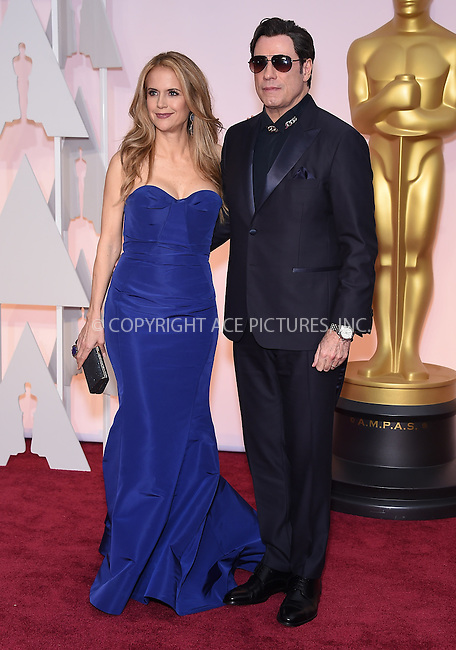 WWW.ACEPIXS.COM<br /> <br /> February 22 2015, Los Angeles Ca.<br /> <br /> Actress Kelly Preston (L) and John Travolta arriving at the 87 th Annual Academy Awards at the Hollywood and Highland center on February 22 2015 in Hollywood CA.<br /> <br /> <br /> Please byline: Z15/ACE Pictures<br /> <br /> ACE Pictures, Inc.<br /> www.acepixs.com<br /> Email: info@acepixs.com<br /> Tel: 646 769 0430