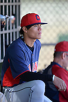 Cleveland Indians shortstop Yu-Cheng Chang (9) in the dugout during an instructional league game against the Cincinnati Reds on September 28, 2013 at Goodyear Training Complex in Goodyear, Arizona.  (Mike Janes/Four Seam Images)
