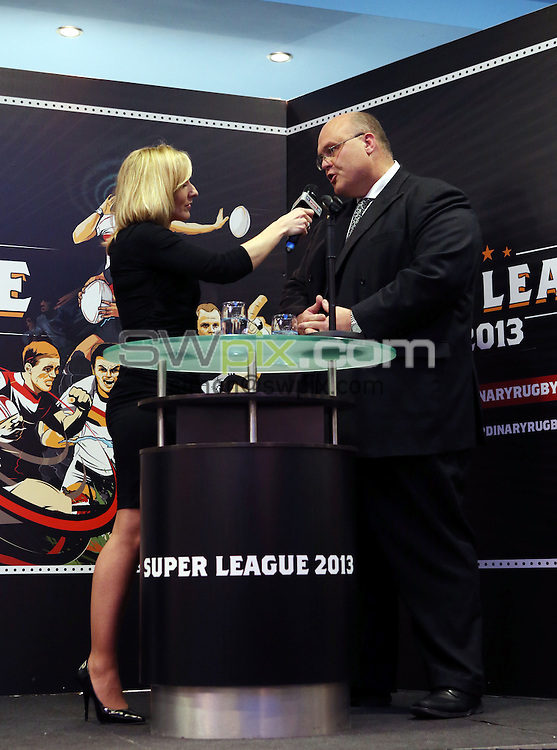 PICTURE BY VAUGHN RIDLEY/SWPIX.COM - Rugby League - 2013 Super League Launch - Etihad Stadium, Manchester, England - 28/01/13 - Sky Sports Vicky Gomersall speaks to the RFL's Nigel Wood.