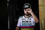 World Champion Peter Sagan (SVK) Bora-Hansgrohe on the podium at the end of  Stage 6 of the 2018 Tour de France running 181km from Brest to Mur-de-Bretagne Guerledan, France. 12th July 2018. <br /> Picture: ASO/Pauline Ballet | Cyclefile<br /> All photos usage must carry mandatory copyright credit (&copy; Cyclefile | ASO/Pauline Ballet)