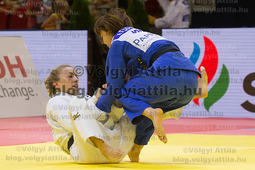 Natsumi Tsunoda (R) of Japan and Charline Van Snick (L) of Belgium fight during the Women -52 kg category at the Judo Grand Prix Budapest 2018 international judo tournament held in Budapest, Hungary on Aug. 10, 2018. ATTILA VOLGYI