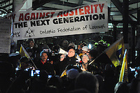 November 21, 2011, early evening, OFL President, Sid Ryan speaks to Occupy Toronto protesters and hundreds of Ontario Federation of Labour supporters at an early evening rally at St. James Park which followed a decision handed down this morning by Ontario Superior Court judge David Brown, upholding the Occupy Toronto tent camp eviction, effective 12:01, November 22, 2011.