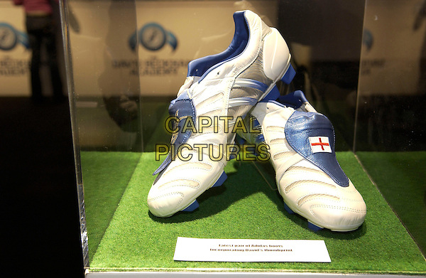 DAVID BECKHAM'S SHOES.The launch of The David Beckham Academy at The Chainstore, Trinity Buoy..March 14th, 2005.shoes trainers sneakers.www.capitalpictures.com.sales@capitalpictures.com.© Capital Pictures.