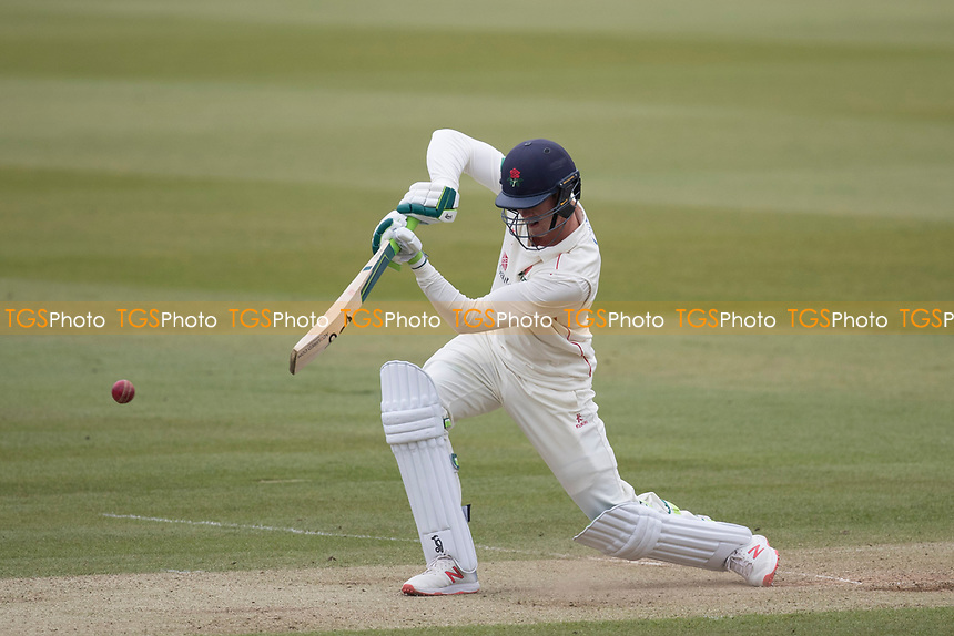 Keaton Jennings of Lancashire CCC drives through off during Middlesex CCC vs Lancashire CCC, Specsavers County Championship Division 2 Cricket at Lord's Cricket Ground on 12th April 2019