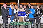 TOP DOG: Breda Kennelly and Marie Stack presenting Jane Dowling owner of General Dogsbody winner of the Mike Kennelly Hardware, Moyvane & BD Agri Parts, Moyvane 570 at the Tarbert Comprehensive School Night at the Dogs at the Kingdom Greyhound Stadium on Saturday l-r: Mike, Jennifer and Brenda Kennelly, Jane Dowling, Marie and Kieran Stacl, Stephen Deidy and Mary McGillycuddy (Tarbert Comprehensive principal).