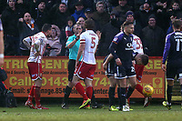 Fraser Franks of Stevenage protests to the referee after a penalty is awarded against his team during Stevenage vs Luton Town, Sky Bet EFL League 2 Football at the Lamex Stadium on 10th February 2018