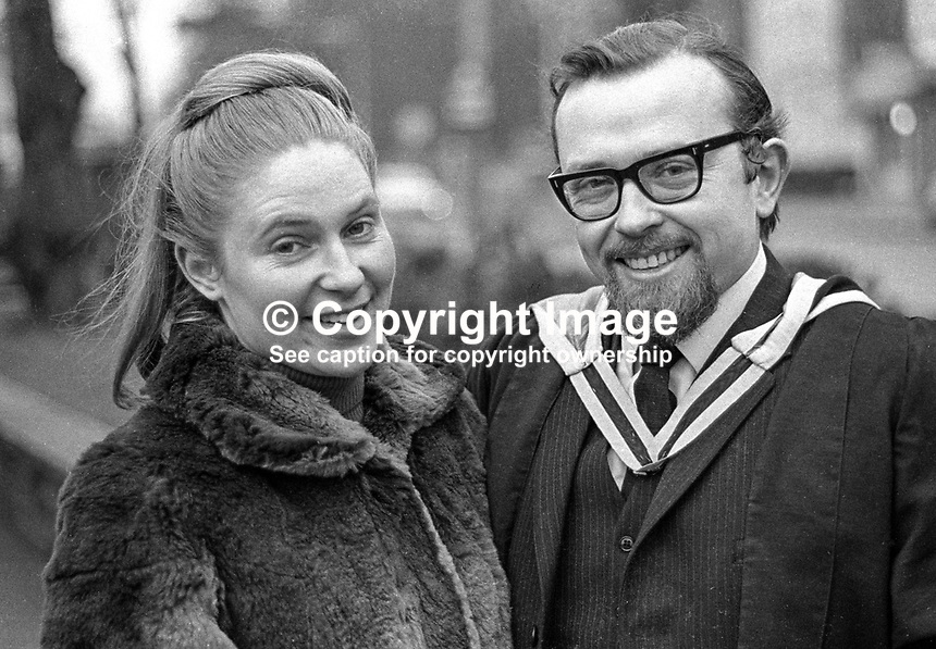 Erskine Holmes, Belfast, N Ireland, UK, N Ireland Labour Party candidate, in Stormont Parliament election, pictured with wife, Sally, on the occasion of his winter graduation from Queen's University, Belfast.  196812000278a..© Victor Patterson, 54 Dorchester Park, Belfast, N Ireland. Tel: +44 2890661296; Mobile: +44 7802 353836; Emails: victorpatterson@me.com & victorpatterson@gmail.com; www.victorpatterson.com