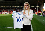 England international Millie Bright with her shirt form the recent European Championships during the Championship League match at Bramall Lane Stadium, Sheffield. Picture date 19th August 2017. Picture credit should read: Simon Bellis/Sportimage