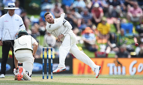 22.02.2016. Christchurch, New Zealand.  Brendon McCullum fielding off this own bowling on Day 3 of the 2nd test match. New Zealand Black Caps versus Australia. Hagley Oval in Christchurch, New Zealand. Monday 22 February 2016.