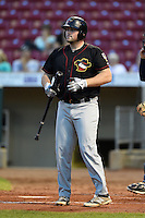 Quad Cities River Bandits designated hitter Chase McDonald (50) at bat during a game against the Cedar Rapids Kernels on August 18, 2014 at Perfect Game Field at Veterans Memorial Stadium in Cedar Rapids, Iowa.  Cedar Rapids defeated Quad Cities 5-3.  (Mike Janes/Four Seam Images)
